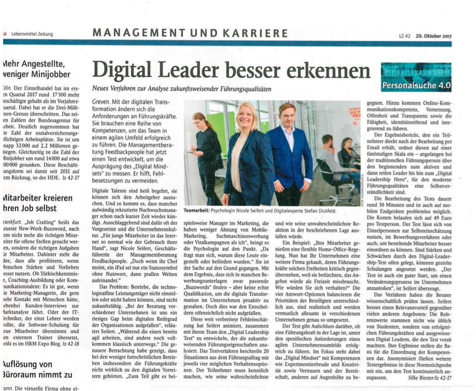 Digital Leader besser erkennen - Artikel in Lebensmittelzeitung